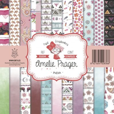 Set 12 papeles scrapbooking india - Amelie Orita