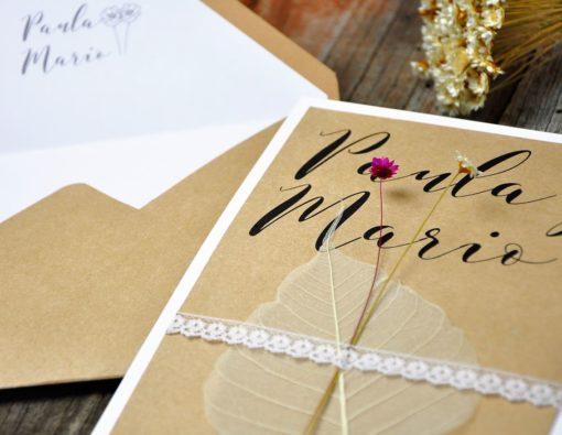 Invitación de boda natural - flowers para ti