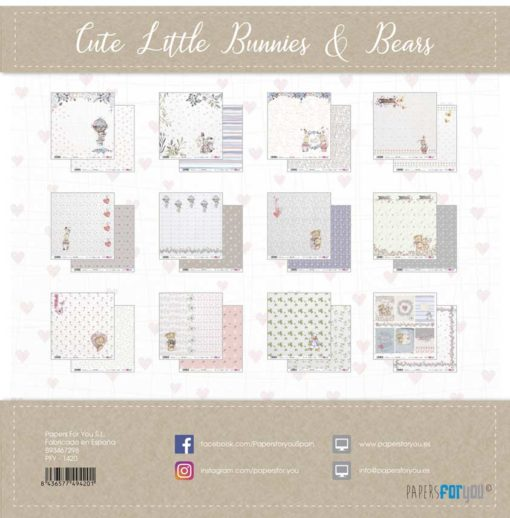 Cute little bunnies & Bears Set 12 papeles scrapbooking – Papers for you2