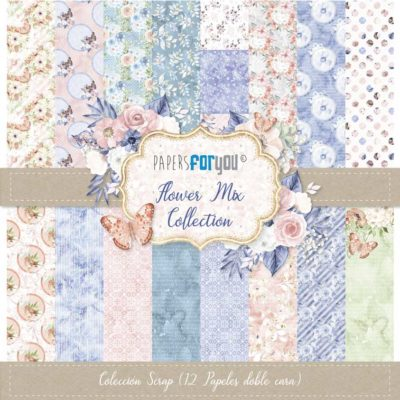 Flower Mix Set 12 papeles scrapbooking – Papers for you
