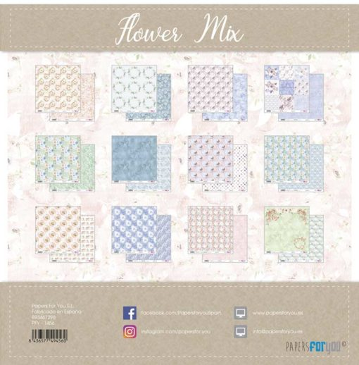 Flower Mix Set 12 papeles scrapbooking – Papers for you2