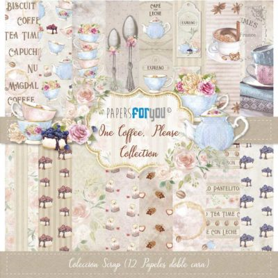 One coffee, please Set 12 papeles scrapbooking – Papers for you