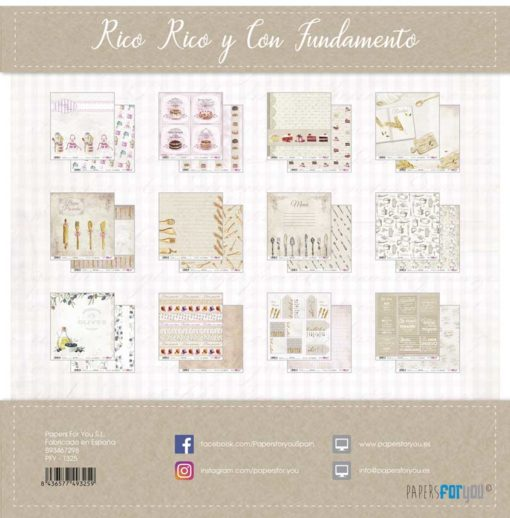 Rico rico y con fundamento Set 12 papeles scrapbooking – Papers for you2