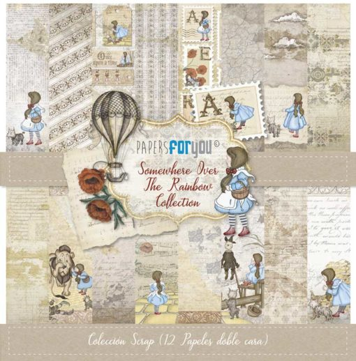 """""""Somewhere over the rainbow"""" Set 12 papeles scrapbooking – Papers for you"""
