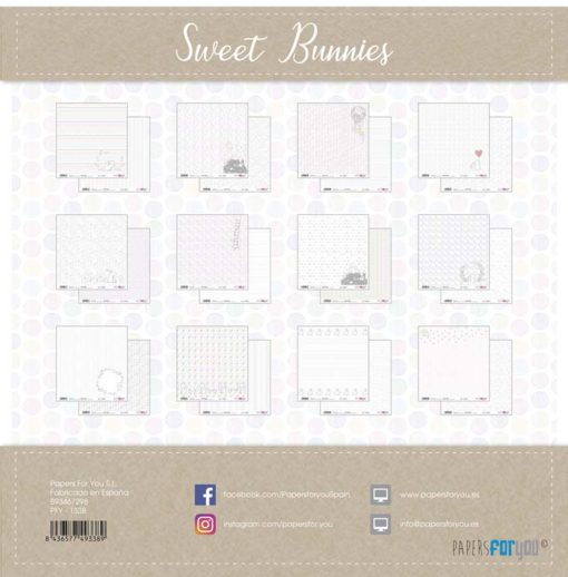 Sweet Bunnies Set 12 papeles scrapbooking – Papers for you2