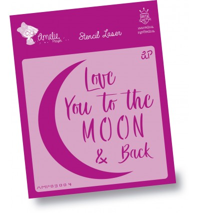 Plantilla de Stencil - Love you to the Moon - Amelie Orita