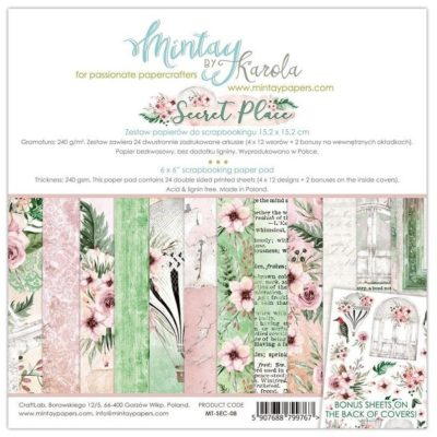 Secret Place Set 24 papeles scrapbooking – Mintay by Karola