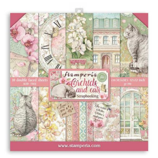 Orchids and Cats Set 10 papeles scrapbooking - Stamperia
