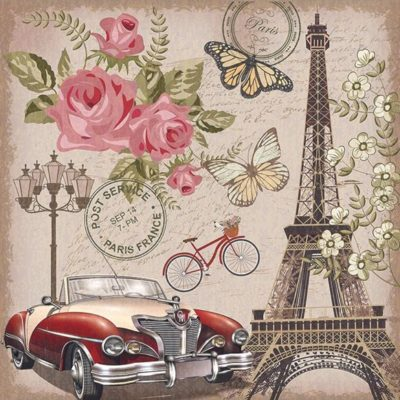 """Romantic France"" - Papel sublimación - 30x30 cm - Artis Decor"