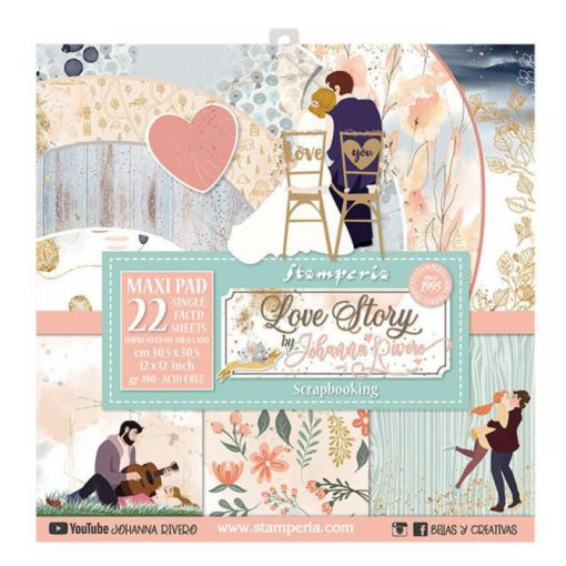 """Love Story by Johanna Rivero"" Set 22 papeles scrapbooking - Stamperia"