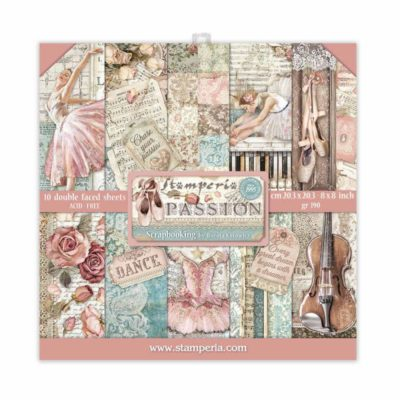 """Passion"" Set 10 papeles scrapbooking - Stamperia"