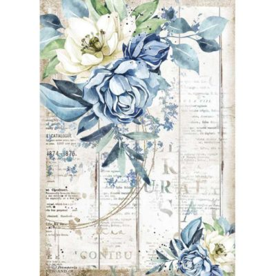 Romantic sea dream blue flower - Papel de arroz A4 - Stamperia