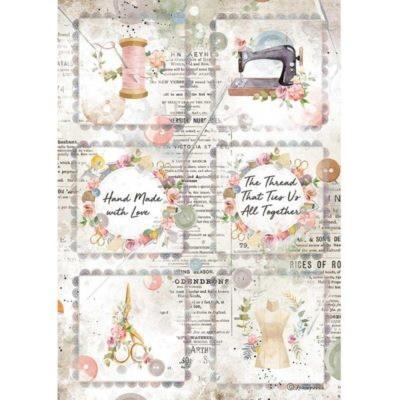 """Romantic threads mini cards"" - Papel de arroz A4 - Stamperia"
