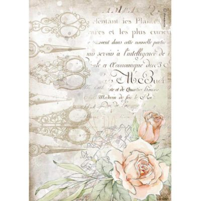"""Romantic threads scissors and roses"" - Papel de arroz A4 - Stamperia"