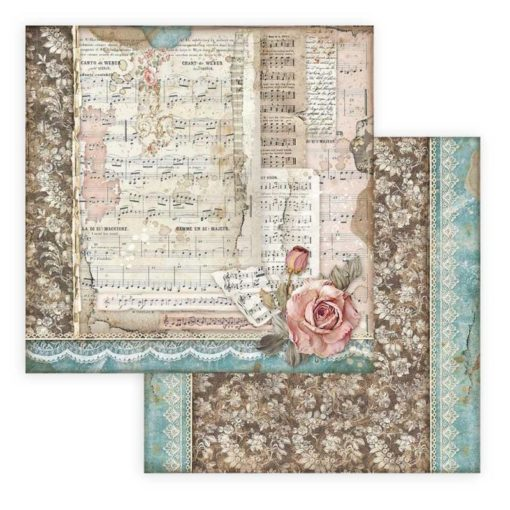 """""""Passion Roses and Music"""" Papel de scrapbooking - Stamperia"""